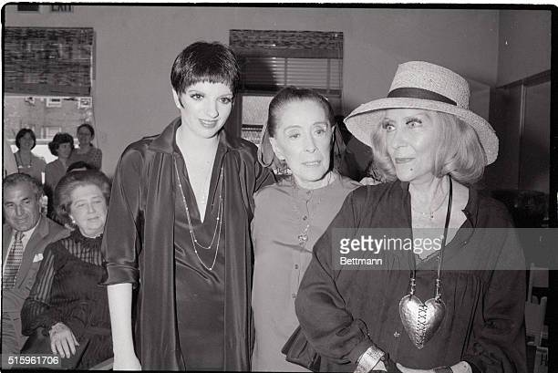 7/30/1981New York NYMartha Graham Director of the Martha Graham Dance Group hugs Liza Minnelli as they met at a party to announce a display of...