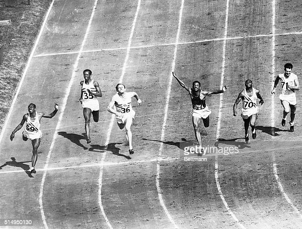 Wembley, England- Harrison Dillard of Baldwin Wallace, wins the Olympic 100-meter dash at Wembley Stadium on July, 31. Time was 10.3, equalling the...