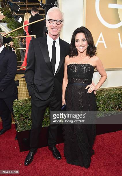 73rd ANNUAL GOLDEN GLOBE AWARDS Pictured Actor Brad Hall and actress Julia LouisDreyfus arrive to the 73rd Annual Golden Globe Awards held at the...