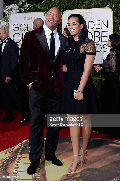 73rd ANNUAL GOLDEN GLOBE AWARDS Pictured Actor Dwayne Johnson and Simone Alexandra Johnson arrive to the 73rd Annual Golden Globe Awards held at the...