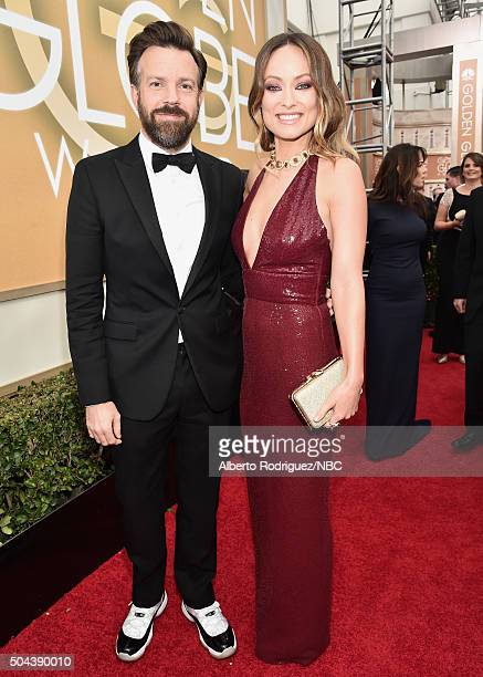 73rd ANNUAL GOLDEN GLOBE AWARDS Pictured Actor Jason Sudeikis and actress Olivia Wilde arrive to the 73rd Annual Golden Globe Awards held at the...