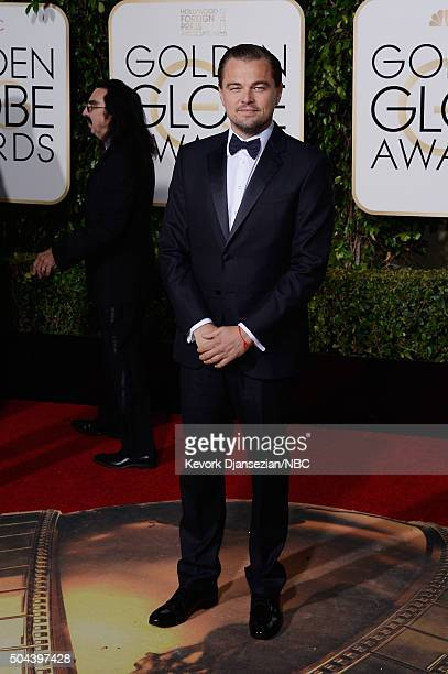 73rd ANNUAL GOLDEN GLOBE AWARDS Pictured Actor Leonardo DiCaprio arrives to the 73rd Annual Golden Globe Awards held at the Beverly Hilton Hotel on...