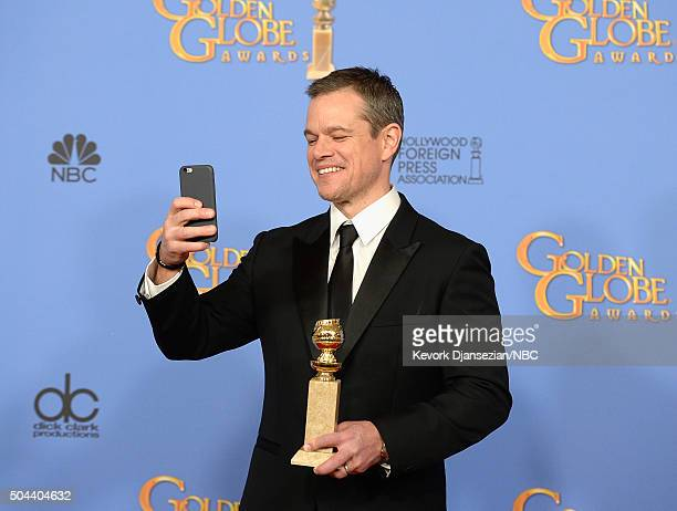 73rd ANNUAL GOLDEN GLOBE AWARDS Pictured Actor Matt Damon winner of the award for Best Performance by an Actor in a Motion Picture Musical or Comedy...