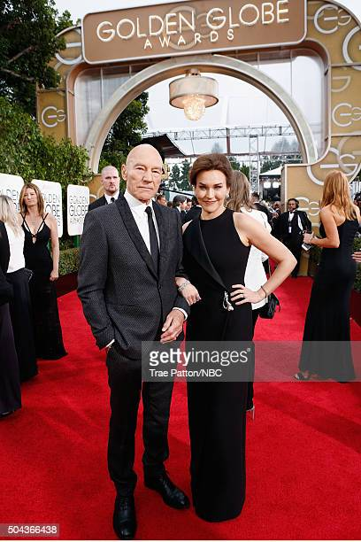 73rd ANNUAL GOLDEN GLOBE AWARDS -- Pictured: Actor Patrick Stewart and singer Sunny Ozell arrive to the 73rd Annual Golden Globe Awards held at the...