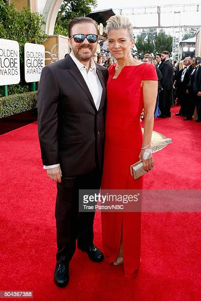 73rd ANNUAL GOLDEN GLOBE AWARDS Pictured Actor Ricky Gervais and writer Jane Fallon arrive to the 73rd Annual Golden Globe Awards held at the Beverly...