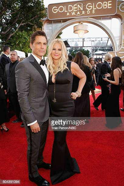 73rd ANNUAL GOLDEN GLOBE AWARDS Pictured Actor Rob Lowe and Sheryl Berkoff arrive to the 73rd Annual Golden Globe Awards held at the Beverly Hilton...
