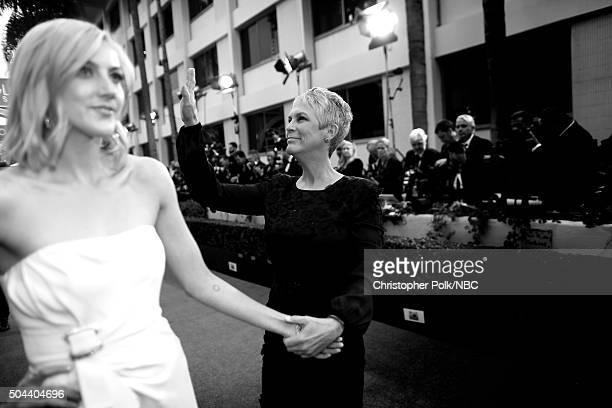 73rd ANNUAL GOLDEN GLOBE AWARDS Pictured Actors Annie Guest and Jamie Lee Curtis arrive to the 73rd Annual Golden Globe Awards held at the Beverly...