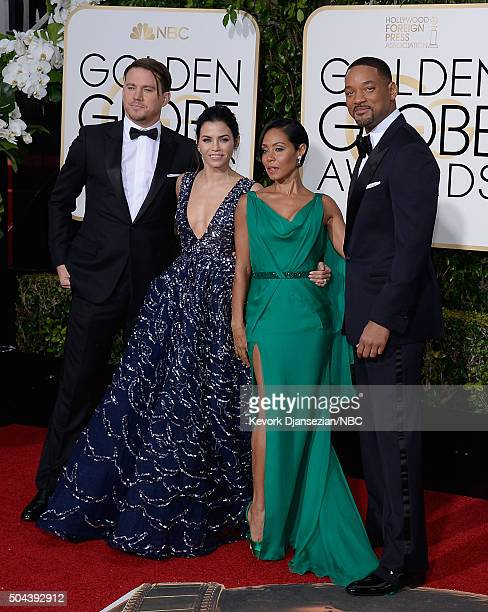 73rd ANNUAL GOLDEN GLOBE AWARDS -- Pictured: Actors Channing Tatum, Jenna Dewan Tatum, Jada Pinkett Smith and Will Smith arrive to the 73rd Annual...