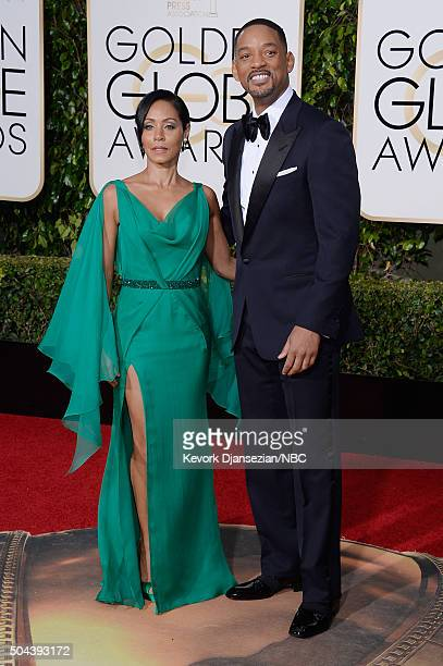 73rd ANNUAL GOLDEN GLOBE AWARDS -- Pictured: Actors Jada Pinkett Smith and Will Smith arrive to the 73rd Annual Golden Globe Awards held at the...