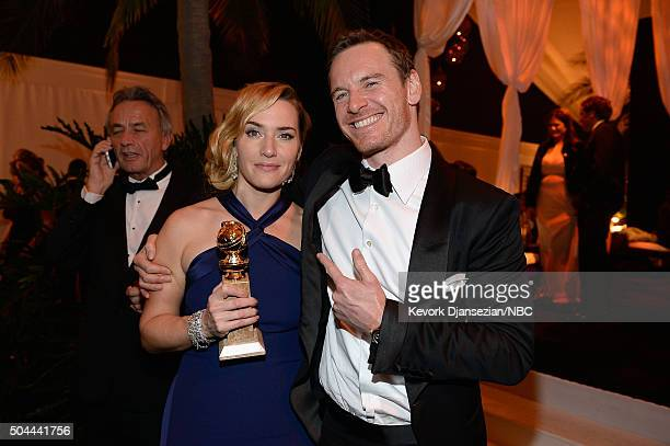 73rd ANNUAL GOLDEN GLOBE AWARDS Pictured Actors Kate Winslet and Michael Fassbender attend NBCUniversal's Golden Globes PostParty Sponsored by...