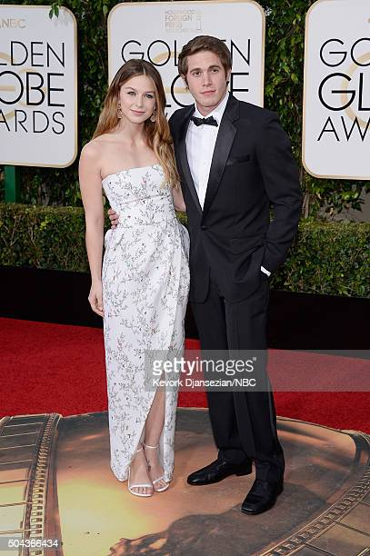 73rd ANNUAL GOLDEN GLOBE AWARDS Pictured Actors Melissa Benoist and Blake Jenner arrive to the 73rd Annual Golden Globe Awards held at the Beverly...