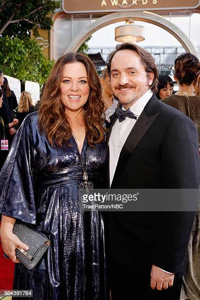 73rd ANNUAL GOLDEN GLOBE AWARDS Pictured Actors Melissa McCarthy and Ben Falcone arrive to the 73rd Annual Golden Globe Awards held at the Beverly...