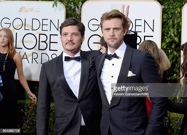 73rd ANNUAL GOLDEN GLOBE AWARDS Pictured Actors Pedro Pascal and Boyd Holbrook arrive to the 73rd Annual Golden Globe Awards held at the Beverly...