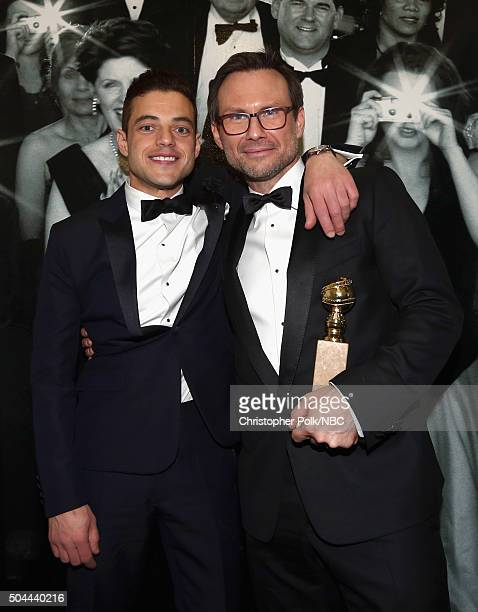 73rd ANNUAL GOLDEN GLOBE AWARDS Pictured Actors Rami Malek and Christian Slater attend NBCUniversal's Golden Globes PostParty Sponsored by Chrysler...