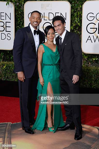 73rd ANNUAL GOLDEN GLOBE AWARDS -- Pictured: Actors Will Smith, Jada Pinkett Smith and Trey Smith arrive to the 73rd Annual Golden Globe Awards held...