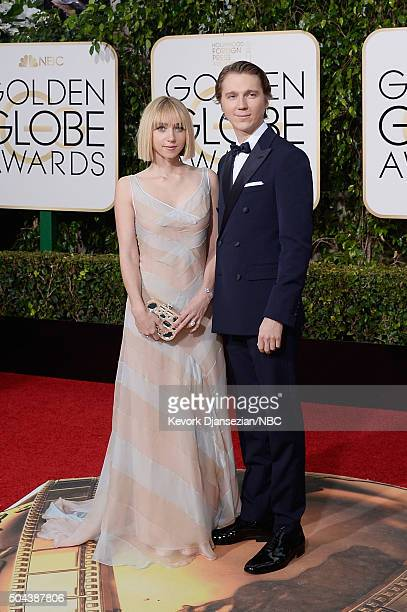 73rd ANNUAL GOLDEN GLOBE AWARDS Pictured Actors Zoe Kazan and Paul Dano arrive to the 73rd Annual Golden Globe Awards held at the Beverly Hilton...