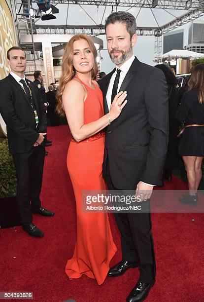 73rd ANNUAL GOLDEN GLOBE AWARDS Pictured Actress Amy Adams and actor Darren Le Gallo arrive to the 73rd Annual Golden Globe Awards held at the...