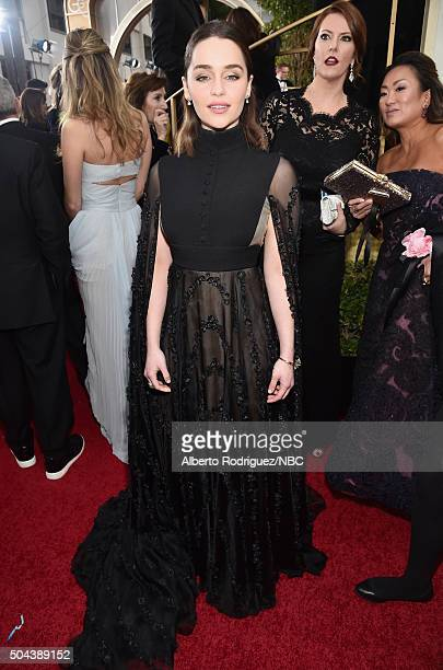 73rd ANNUAL GOLDEN GLOBE AWARDS Pictured Actress Emilia Clarke arrives to the 73rd Annual Golden Globe Awards held at the Beverly Hilton Hotel on...