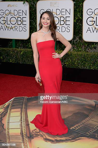 73rd ANNUAL GOLDEN GLOBE AWARDS Pictured Actress Emmy Rossum arrives to the 73rd Annual Golden Globe Awards held at the Beverly Hilton Hotel on...