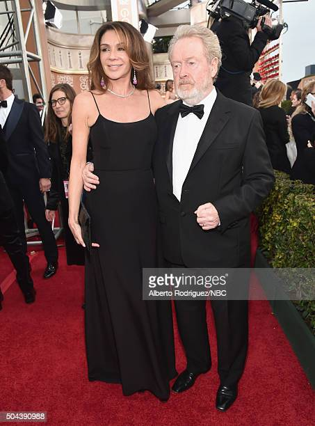 73rd ANNUAL GOLDEN GLOBE AWARDS -- Pictured: Actress Giannina Facio and director/producer Ridley Scott arrive to the 73rd Annual Golden Globe Awards...
