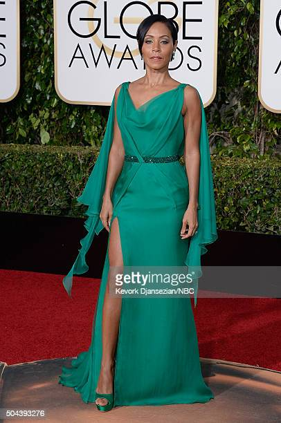73rd ANNUAL GOLDEN GLOBE AWARDS -- Pictured: Actress Jada Pinkett Smith arrives to the 73rd Annual Golden Globe Awards held at the Beverly Hilton...