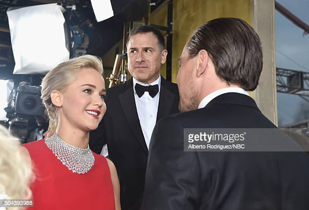 73rd ANNUAL GOLDEN GLOBE AWARDS Pictured Actress Jennifer Lawrence director David O Russell and actor Leonardo DiCaprio arrive to the 73rd Annual...
