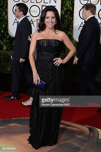 73rd ANNUAL GOLDEN GLOBE AWARDS Pictured Actress Julia LouisDreyfus arrives to the 73rd Annual Golden Globe Awards held at the Beverly Hilton Hotel...