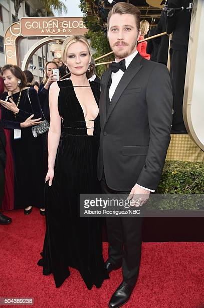 73rd ANNUAL GOLDEN GLOBE AWARDS Pictured Actress Kirsten Dunst and actor Garrett Hedlund arrive to the 73rd Annual Golden Globe Awards held at the...