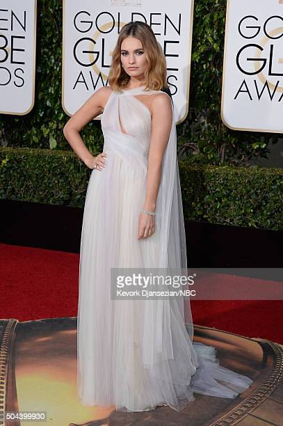 73rd ANNUAL GOLDEN GLOBE AWARDS Pictured Actress Lily James arrives to the 73rd Annual Golden Globe Awards held at the Beverly Hilton Hotel on...