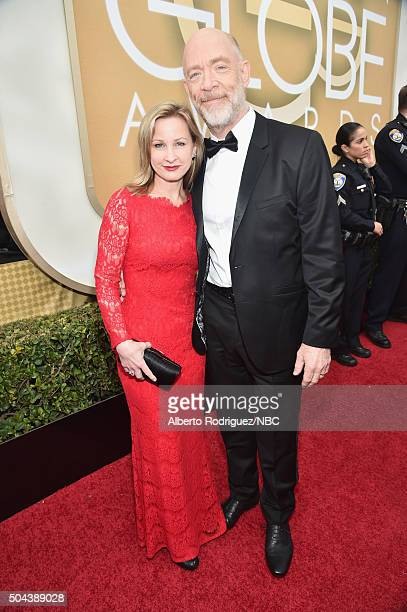 73rd ANNUAL GOLDEN GLOBE AWARDS Pictured Actress Michelle Schumacher and actor J K Simmons arrive to the 73rd Annual Golden Globe Awards held at the...