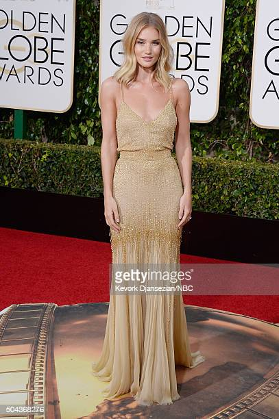 73rd ANNUAL GOLDEN GLOBE AWARDS Pictured Actress Rosie HuntingtonWhiteley arrive to the 73rd Annual Golden Globe Awards held at the Beverly Hilton...