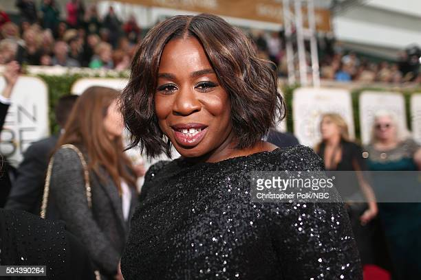 73rd ANNUAL GOLDEN GLOBE AWARDS Pictured Actress Uzo Aduba arrives to the 73rd Annual Golden Globe Awards held at the Beverly Hilton Hotel on January...