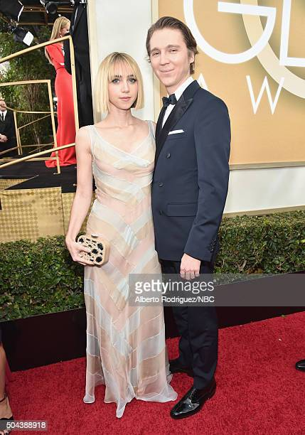 73rd ANNUAL GOLDEN GLOBE AWARDS Pictured Actress Zoe Kazan and actor Paul Dano arrive to the 73rd Annual Golden Globe Awards held at the Beverly...