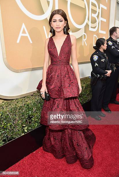73rd ANNUAL GOLDEN GLOBE AWARDS -- Pictured: Actress/recording artist Zendaya arrives to the 73rd Annual Golden Globe Awards held at the Beverly...