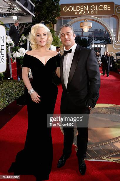 73rd ANNUAL GOLDEN GLOBE AWARDS Pictured Actress/singer Lady Gaga and actor Taylor Kinney arrive to the 73rd Annual Golden Globe Awards held at the...