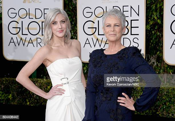 73rd ANNUAL GOLDEN GLOBE AWARDS Pictured Annie Guest and actress Jamie Lee Curtis arrive to the 73rd Annual Golden Globe Awards held at the Beverly...