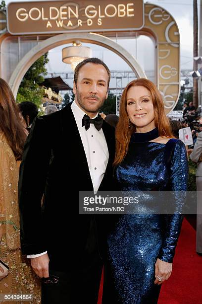 73rd ANNUAL GOLDEN GLOBE AWARDS Pictured Designer Tom Ford and actress Julianne Moore arrive to the 73rd Annual Golden Globe Awards held at the...