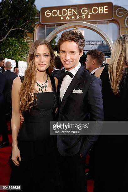 73rd ANNUAL GOLDEN GLOBE AWARDS Pictured Hannah Bagshawe and actor Eddie Redmayne arrive to the 73rd Annual Golden Globe Awards held at the Beverly...