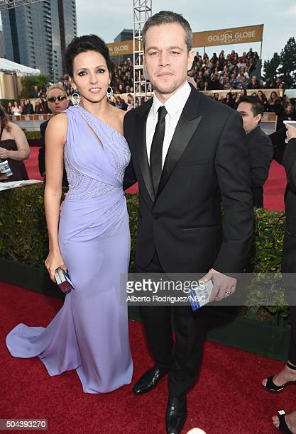 73rd ANNUAL GOLDEN GLOBE AWARDS Pictured Luciana Damon and actor Matt Damon arrive to the 73rd Annual Golden Globe Awards held at the Beverly Hilton...