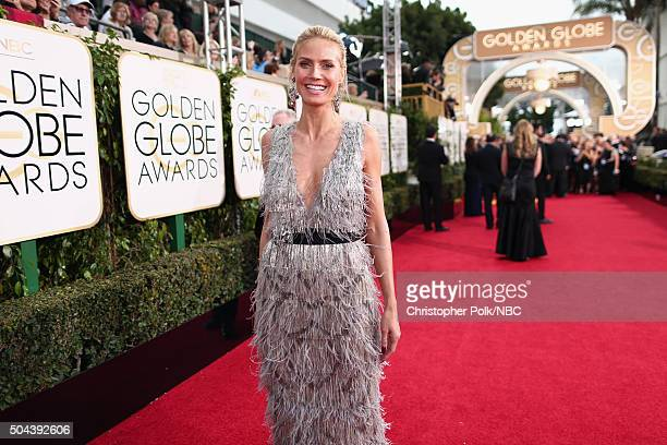 73rd ANNUAL GOLDEN GLOBE AWARDS Pictured Model Heidi Klum arrives to the 73rd Annual Golden Globe Awards held at the Beverly Hilton Hotel on January...