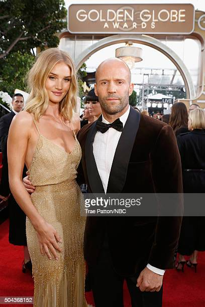 73rd ANNUAL GOLDEN GLOBE AWARDS -- Pictured: Model Rosie Huntington-Whiteley and actor Jason Statham arrive to the 73rd Annual Golden Globe Awards...