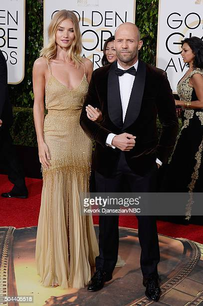 73rd ANNUAL GOLDEN GLOBE AWARDS Pictured Model Rosie HuntingtonWhiteley and actor Jason Statham arrive to the 73rd Annual Golden Globe Awards held at...