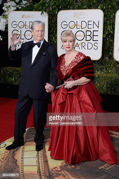 73rd ANNUAL GOLDEN GLOBE AWARDS Pictured Musician Brian Wilson and Melinda Ledbetter arrive to the 73rd Annual Golden Globe Awards held at the...