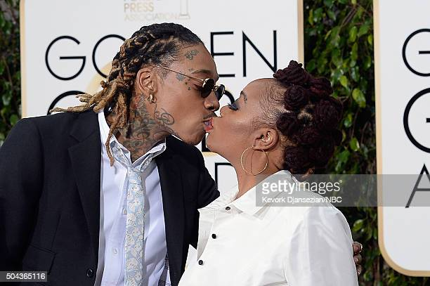 73rd ANNUAL GOLDEN GLOBE AWARDS Pictured Recording artist Wiz Khalifa and Peachie Wimbush arrive to the 73rd Annual Golden Globe Awards held at the...
