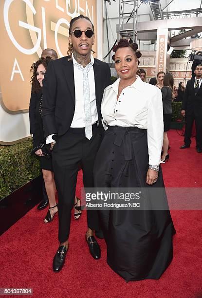 73rd ANNUAL GOLDEN GLOBE AWARDS Pictured Recording artist Wiz Khalifa and Peachie Wimbush arrive to the 73rd Annual Golden Globe Awards held at the...