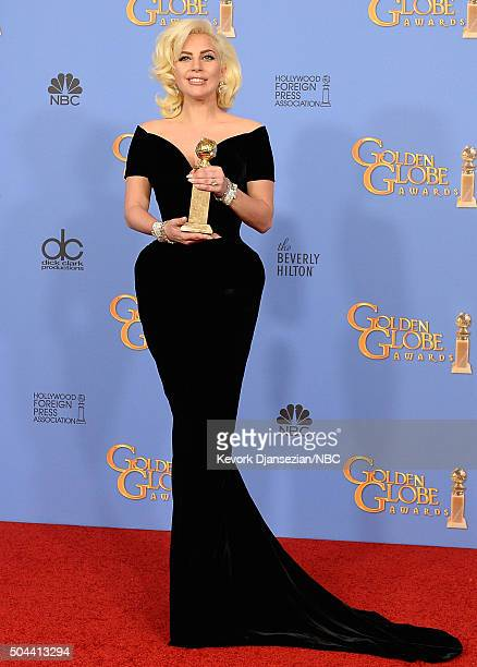 73rd ANNUAL GOLDEN GLOBE AWARDS Pictured Singer/actress Lady Gaga winner of the award for Best Performance by an Actress in a MiniSeries or a Motion...