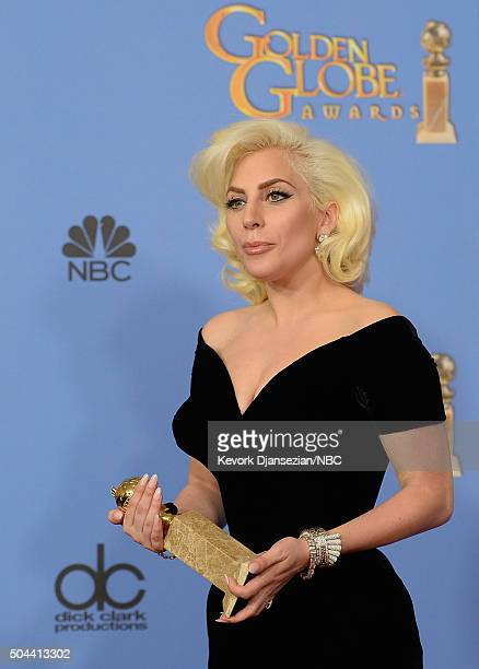 73rd ANNUAL GOLDEN GLOBE AWARDS -- Pictured: Singer/actress Lady Gaga, winner of the award for Best Performance by an Actress in a Mini-Series or a...