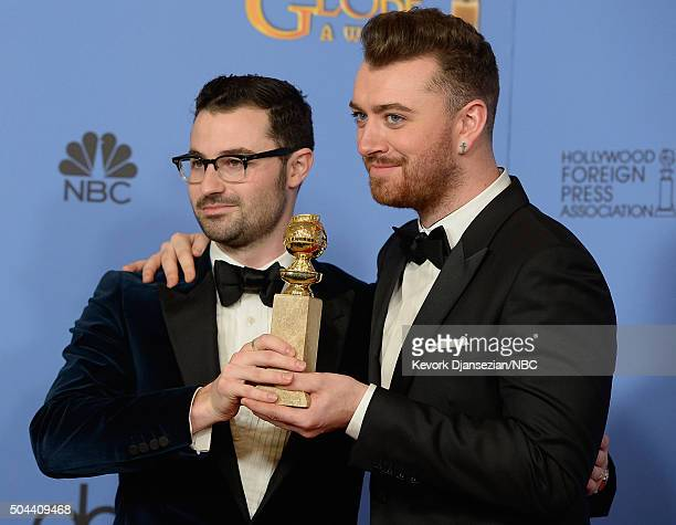 73rd ANNUAL GOLDEN GLOBE AWARDS Pictured Songwriter James Napier and recording artist Sam Smith winners of the award for Best Original Song Writing's...
