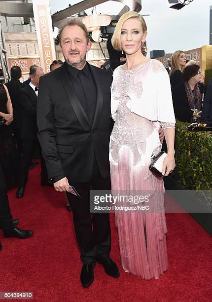73rd ANNUAL GOLDEN GLOBE AWARDS Pictured Writer Andrew Upton and actress Cate Blanchett arrive to the 73rd Annual Golden Globe Awards held at the...