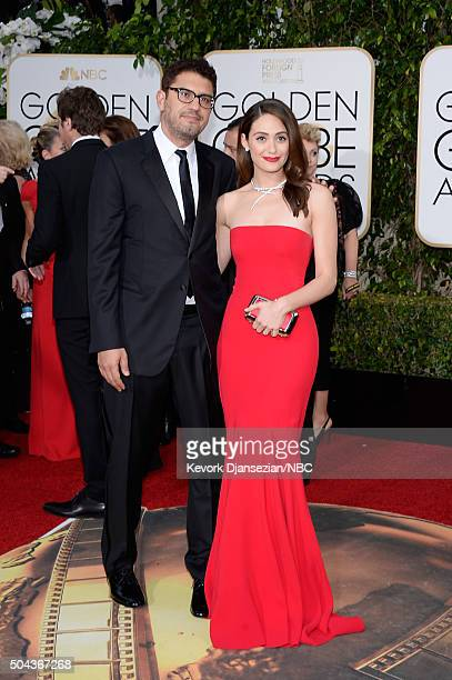 73rd ANNUAL GOLDEN GLOBE AWARDS Pictured Writer/director Sam Esmail and actress Emmy Rossum arrive to the 73rd Annual Golden Globe Awards held at the...